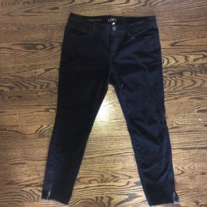 Loft Navy Modern Skinny Ankle Cords w/ Zippers